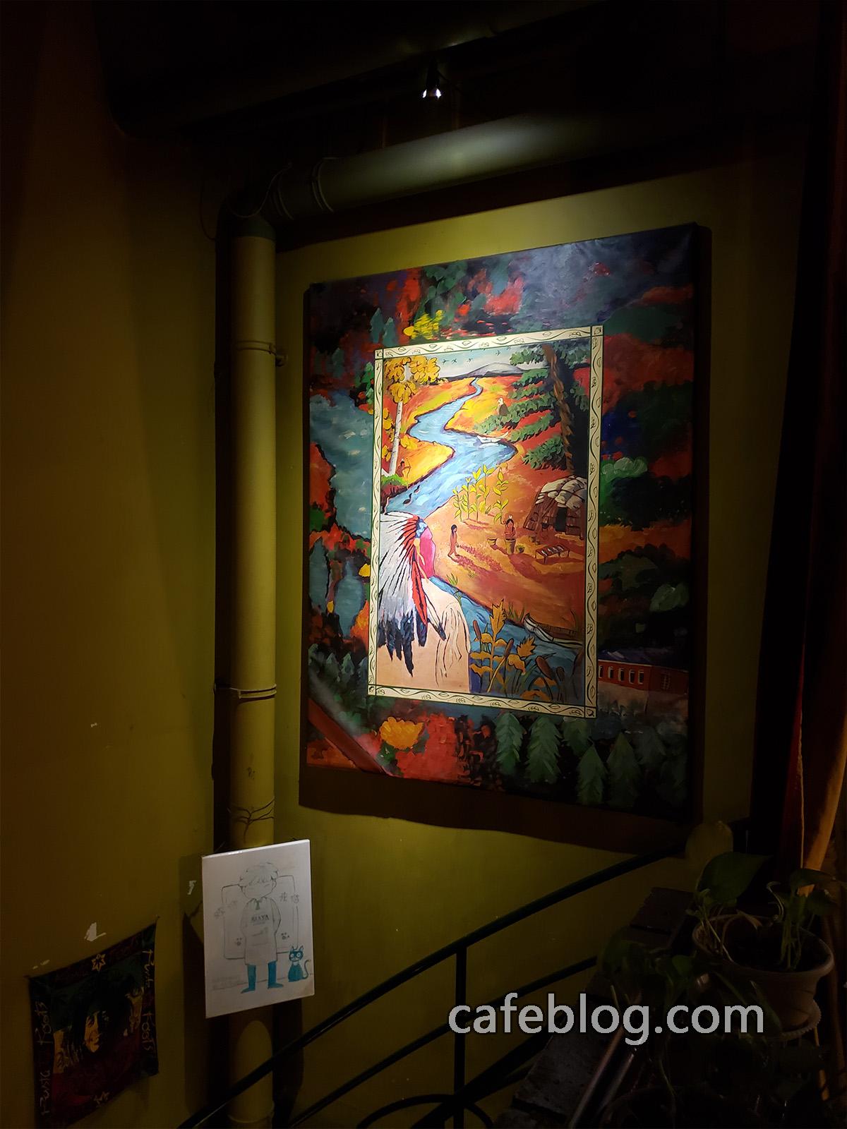 玛雅咖啡馆 Maya Cafe 楼梯间的壁画。
